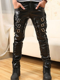 Toggle Skinny Leather Pants