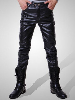 Black Men Pant Zipper Ruched Boot Cut Skinny Leather Pant For Men