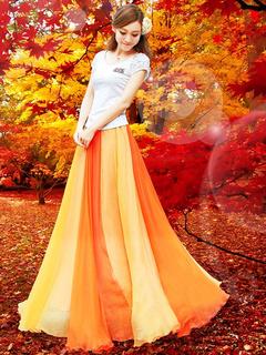 Two-Tone Bohemian Maxi Skirt