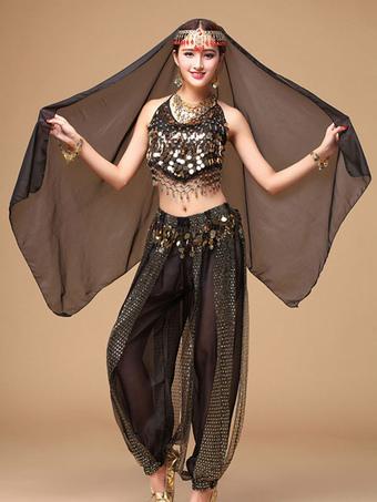 48add2201702 Belly Dance Costume Black Chiffon Women's Bollywood Dance Dress in 3 Piece