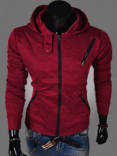 Full Zip Hoodie Men Sweatshirt Burgundy Assassins Creed Hoodie