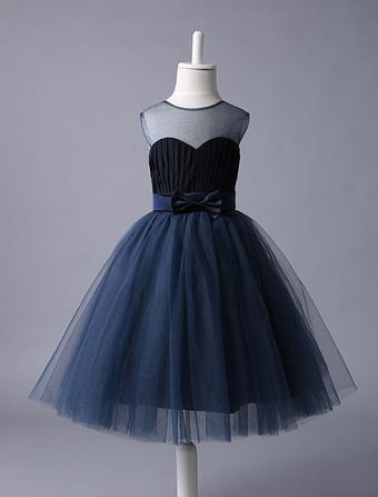 Vestito Damigella bambina Blu Navy Sweetheart Neckline Tutu Dress Bow Sash  Short Bambini Formale Vestito da 2accd43948d