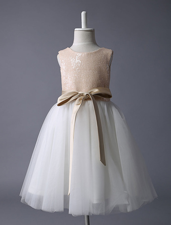 Champagne Flower Girl Dress Sequin Tulle Pageant Dress A Line Knee Length Toddler's Dinner Dress With Bow Sash