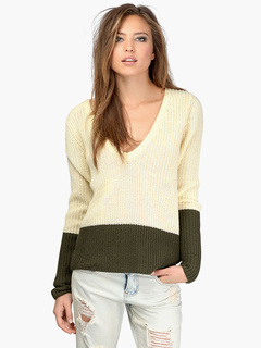 V-Neck Two-Tone Oversized Pulloverss