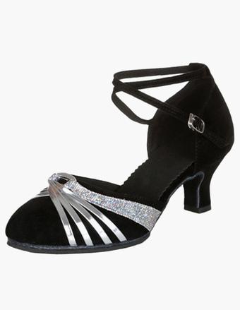 Zapatos de salón de baile 2018Champagne Glitter Peep Toe Criss Cross Zapatos de baile latino Salsa Zapatos de baile ROkJDwTtSW