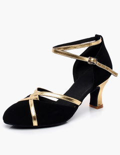 Zapatos de latín 2018 Zapatos de baile Borgoña punta redonda cruzados Otcyp3