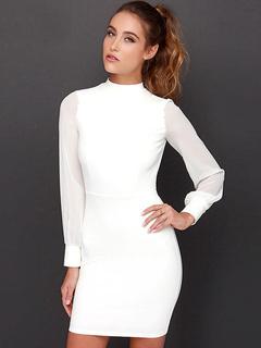 Vestido blanco corto manga larga