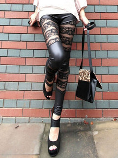 Floral Lace & Leather Paneled Leggings