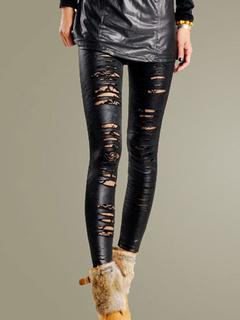 Cut Out PU Leather Leggings