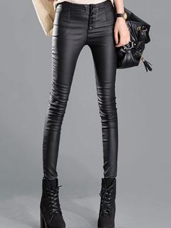 Slim Fit Fleece PU Leather Pants