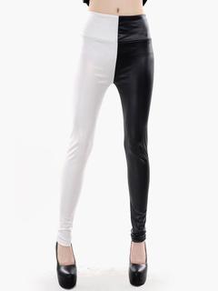 Color Block Leather Leggings