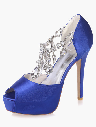Rhinestones Peep Toe Platform Evening And Bridal Sandals
