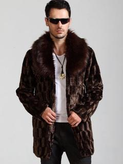 Men Faux Fur Coat Brown Winter Jacket Turndown Collar Long Sleeve Oversized Overcoat