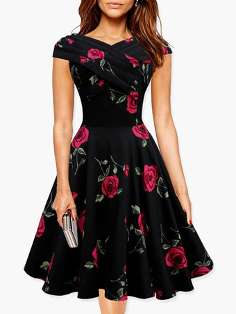 Red Rose Printed Polyester Flared Dress for Women