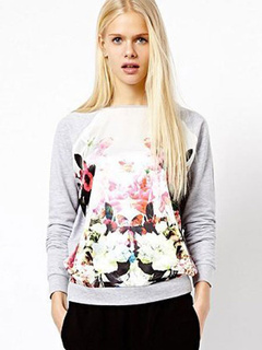White Floral Print Polyester Sweatshirt for Girls