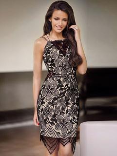 Asymmetrical Lace Black Summer Dress for Woman