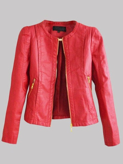 Red Leather Jacket Women Leather Coat Zippered Long Sleeve Motorcycle Jacket