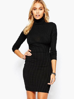 Black Turtleneck Knitted Dress for Woman