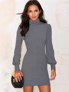 Gray Sexy Acetate Mini Dress for Woman