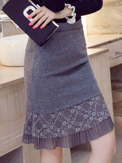 Gray Lace Polyester Skirt For Women