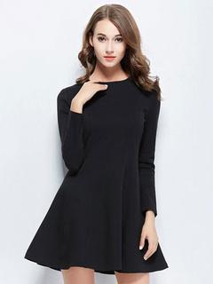 Black Cotton Flare Dress for Women