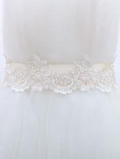 Ecru White Wedding Sash For Bride with Lace Applique