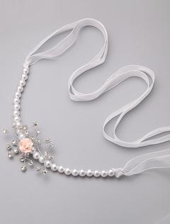 White Pearls Bridal Wedding Sash