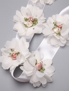White Flowers Bridal Wedding Sash