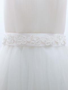 White Cute Flowers Bridal Wedding Sash