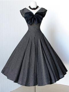 Black Pleated Cotton Vintage Dress for Women
