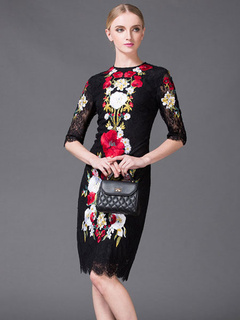 Embroidered Black Lace Party Dress for Women