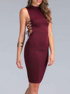 Burgundy Sexy Cut Out Dress Cotton Blend Club Dress for Woman