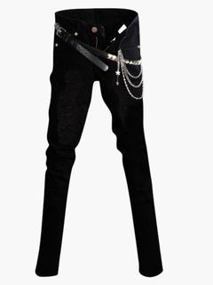 Black Chains Detail Cotton Skinny Jeans for Men