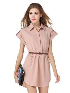 Light Pink Peplum Polyester Shirt Dress For Women