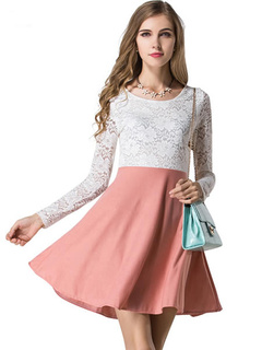 White Lace Polyester Flared Dress For Women