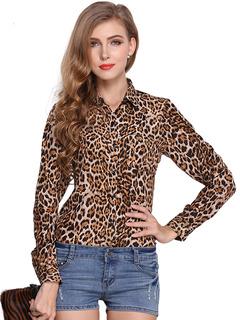 Sexy Leopard Print Chiffon Blouse For Women