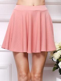 Pink Ruffles Polyester Skirt For Women