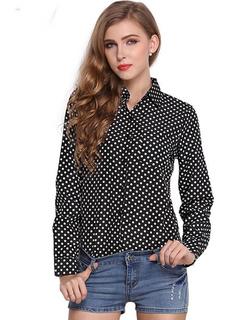 Black Polka Dot Chiffon Blouse For Women