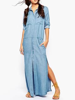 1a428bbc55 Maxi Shirt Dress 2019 Blue Split Denim Spring Dress for Women