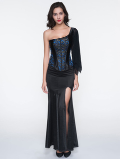 Deep Blue Embroidered Polyester Corsets For Women