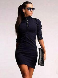 Black Cotton Blend Vintage Dress for Women