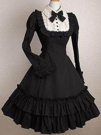 1aaf01fa6e1 Gothic Lolita Dress OP Black Bows Ruffles Cotton Lolita One Piece Dress