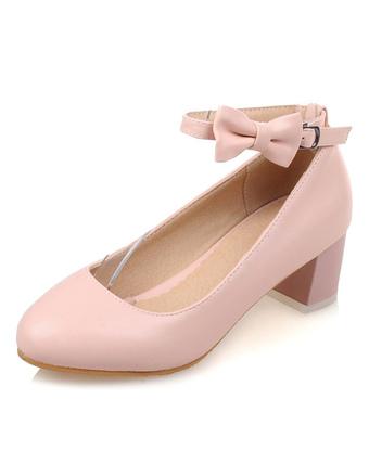 Lazo rosa PU cuero zapatos Sexy para las mujeres fjseys