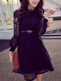 Black Sash Lace Sexy Flared Dress for Women