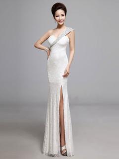 White Lace Long Dress One Shoulder Split Maxi Dress For Women