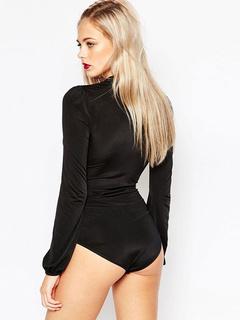 Black Deep-V Polyester Jumpsuit for Women