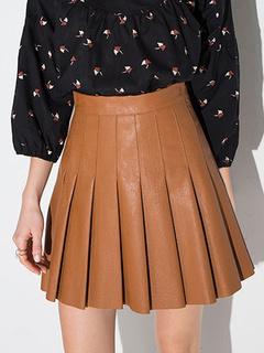 Brown Pleated Polyester Skirt for Women