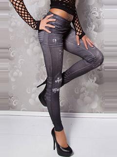 Gray Print Skinny Elastic Waist Polyester Leggings for Women