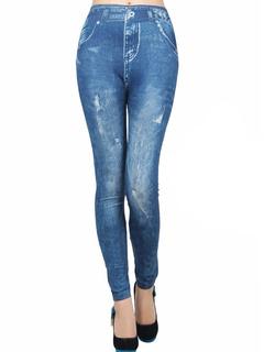 Blue Vintage Skinny Elastic Waist Polyester Leggings for Women