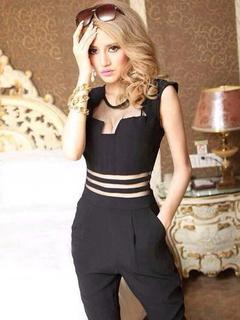 Black Cotton 1-Piece Jumpsuit for Women